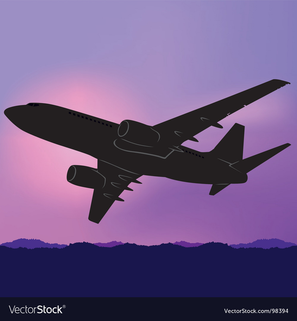 Aeroplane silhouette vector | Price: 1 Credit (USD $1)
