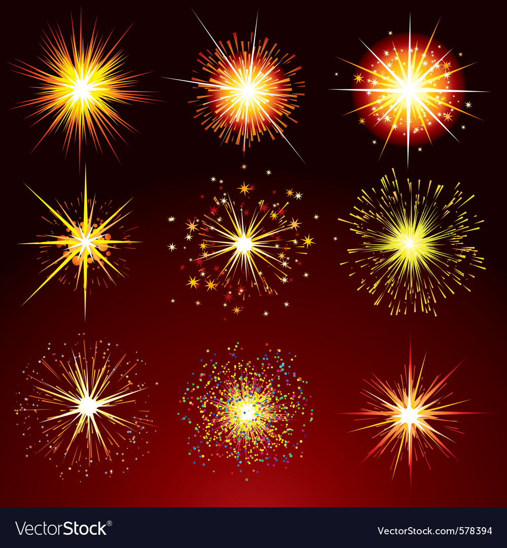 Brightly fireworks isolated design elemen vector | Price: 1 Credit (USD $1)