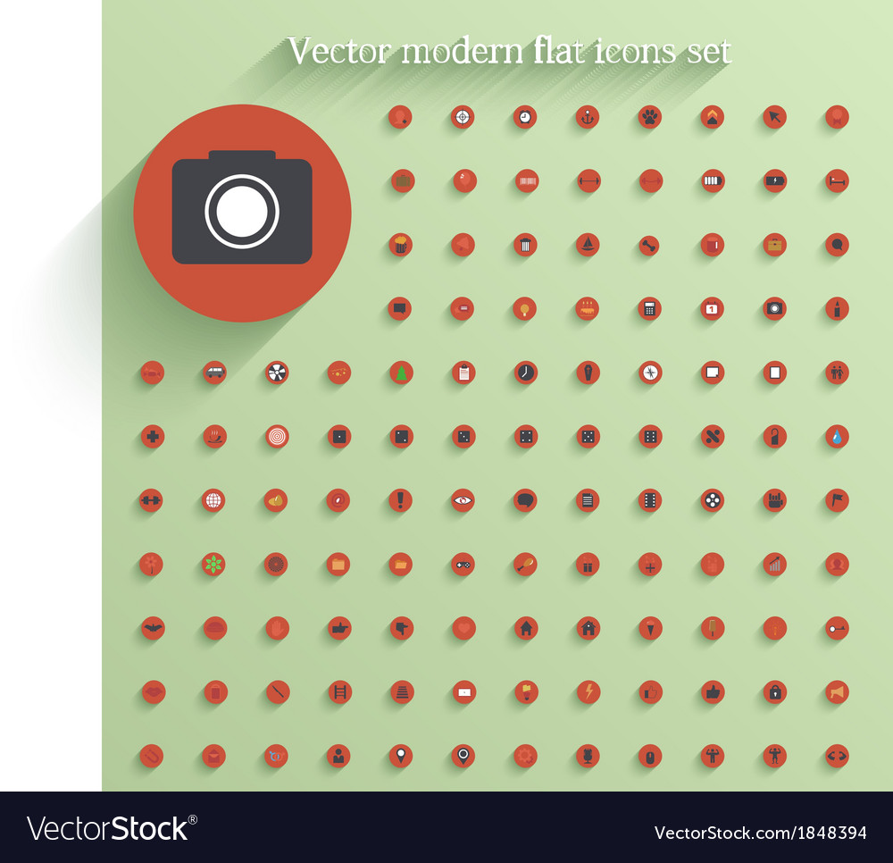 Flat circle icon set eps10 vector | Price: 1 Credit (USD $1)