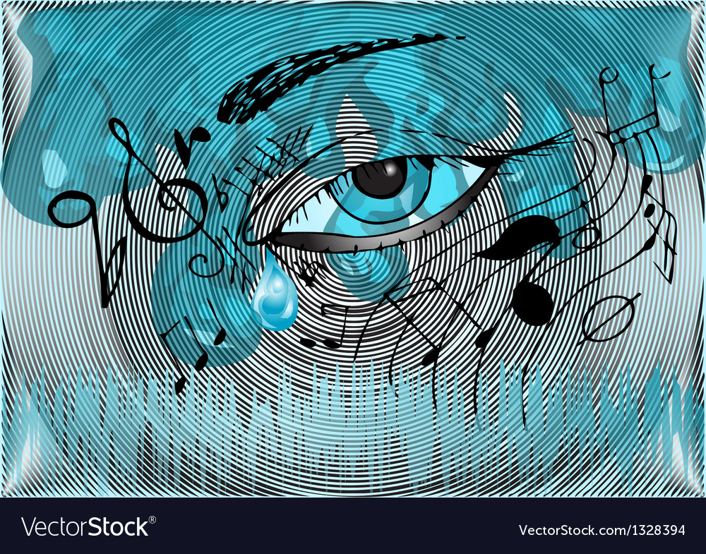 Musical background with the human eye vector   Price: 1 Credit (USD $1)