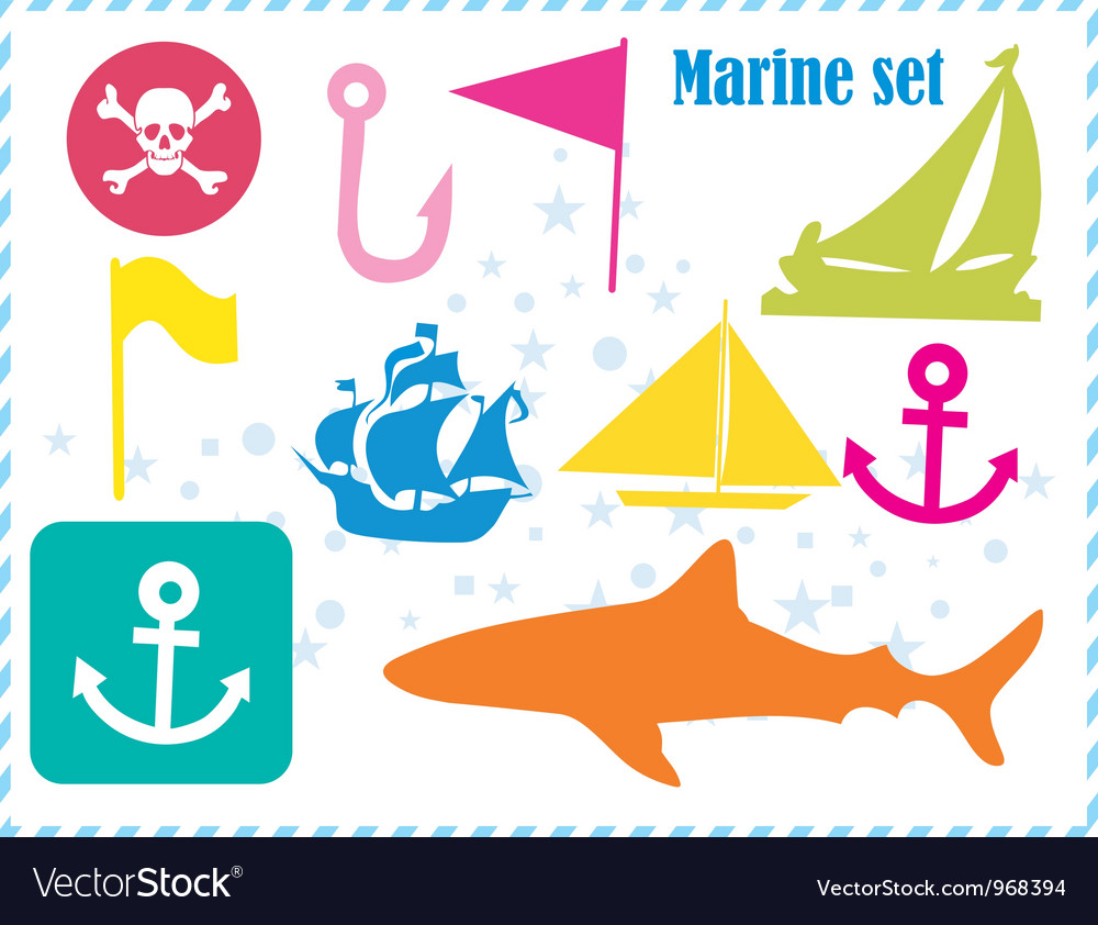 Ostcard with pirates set vector | Price: 1 Credit (USD $1)