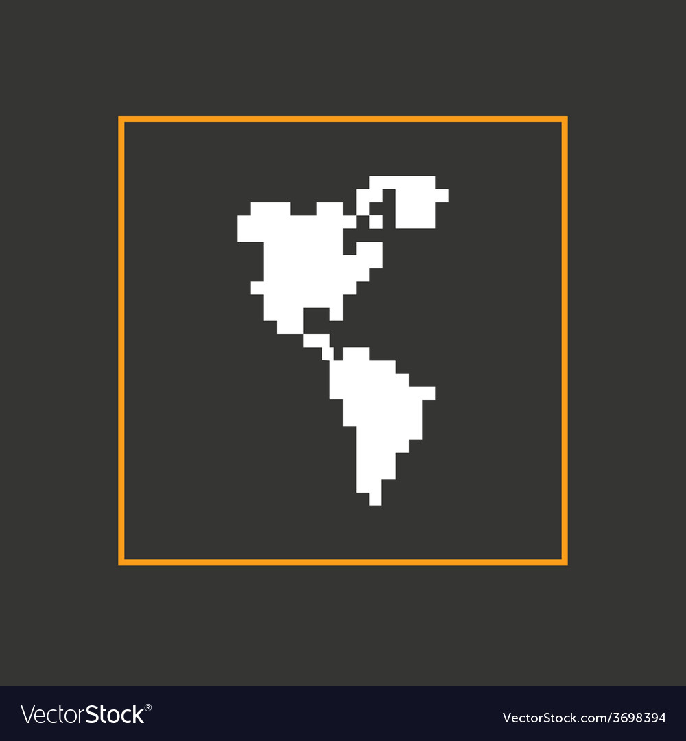 Pixel icon north and south america design vector | Price: 1 Credit (USD $1)