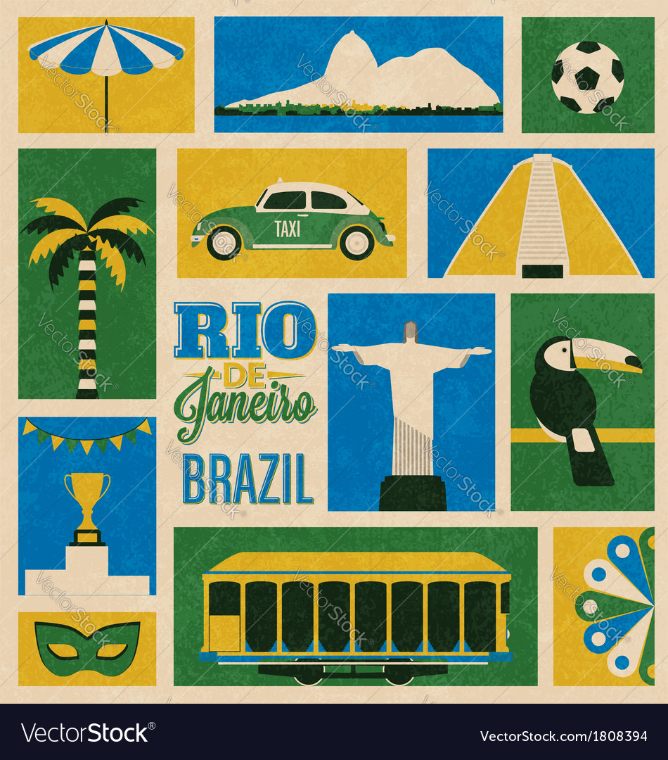 Retro rio icons vector | Price: 1 Credit (USD $1)