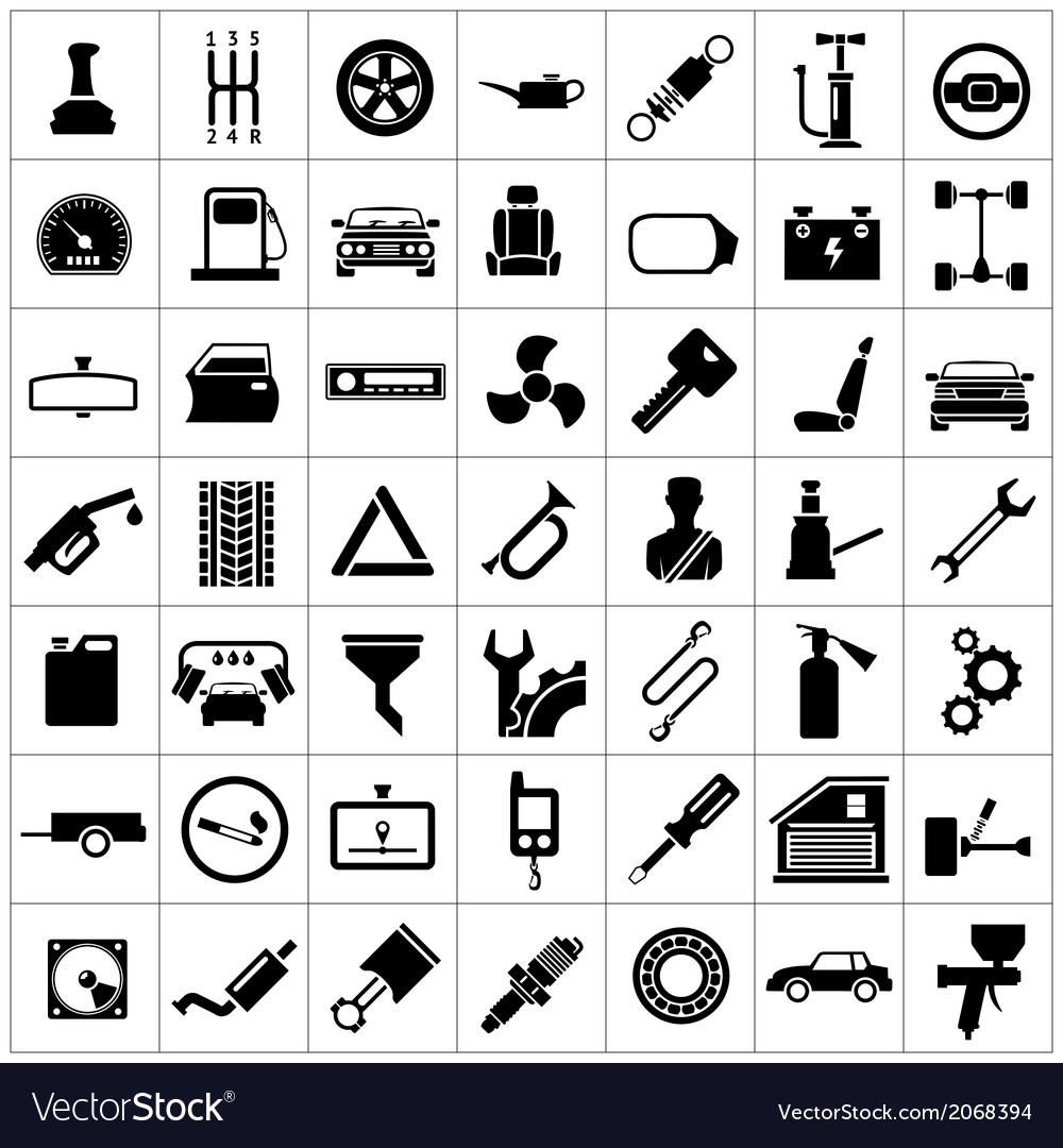 Set icons of auto car parts repair and service vector | Price: 1 Credit (USD $1)