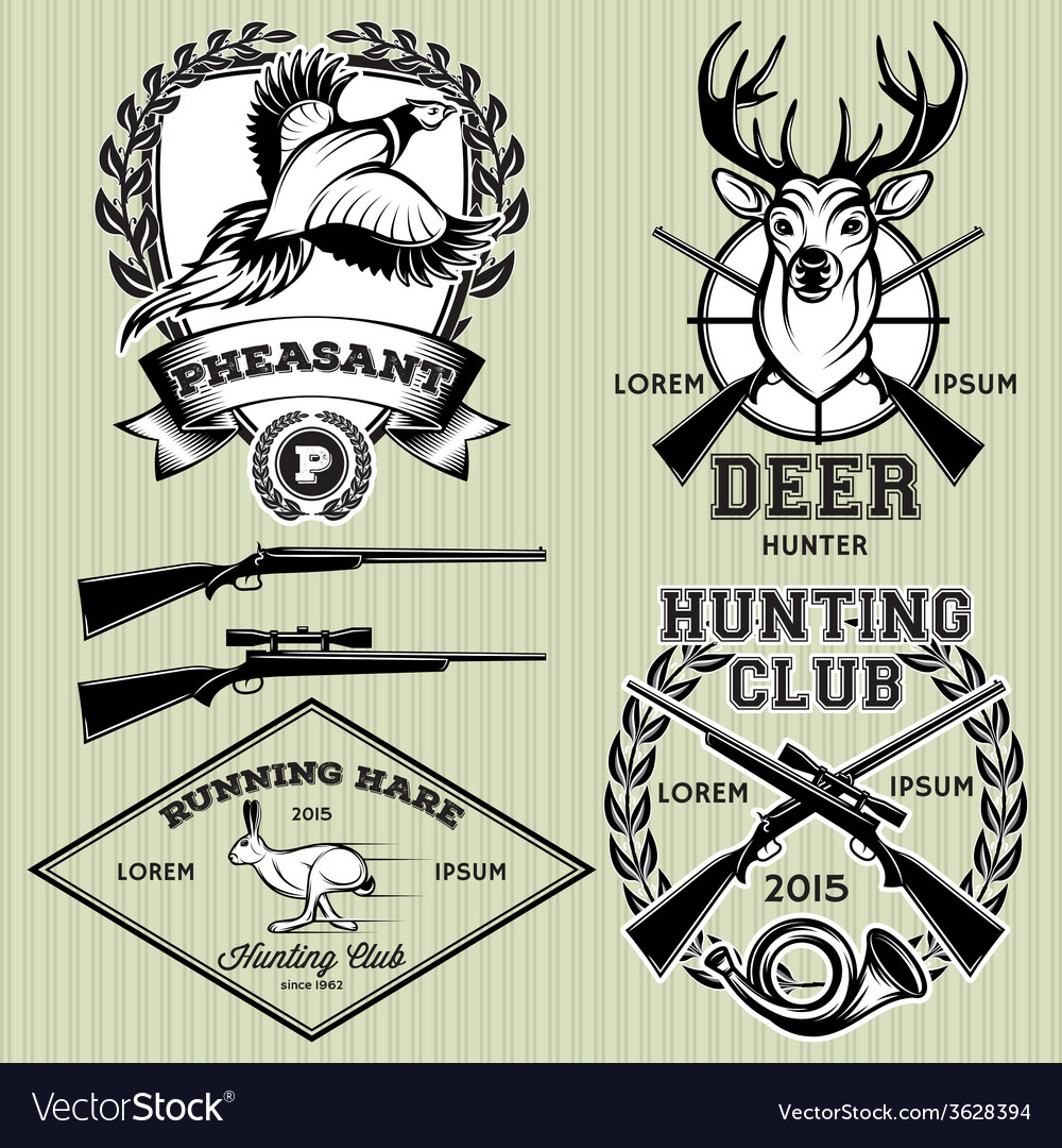 Set of emblems with a deer hare pheasant for vector | Price: 1 Credit (USD $1)