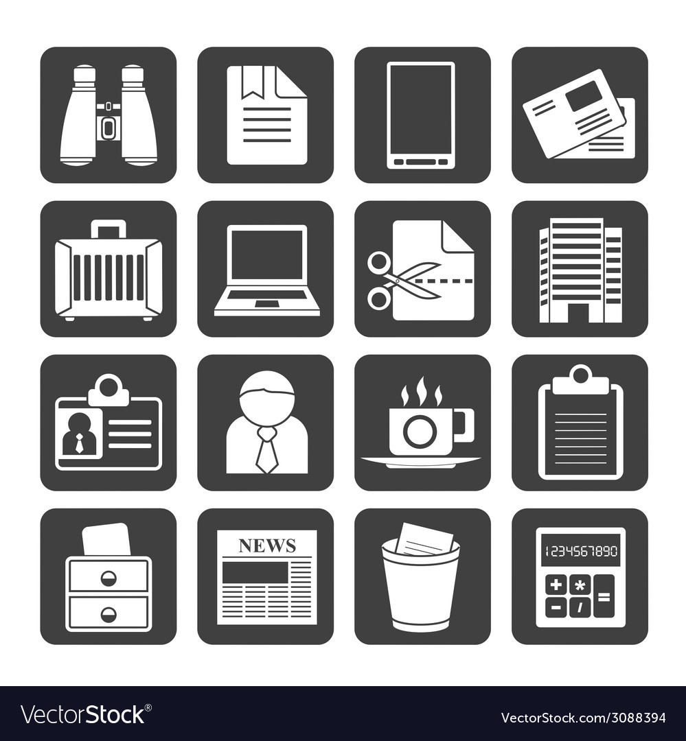 Silhouette business and office elements icons vector | Price: 1 Credit (USD $1)