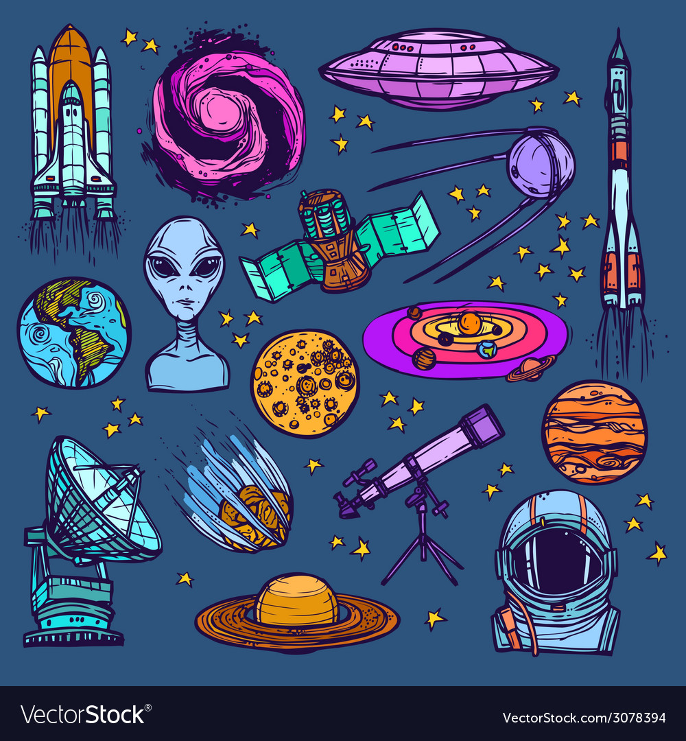 Space sketch set colored vector | Price: 1 Credit (USD $1)