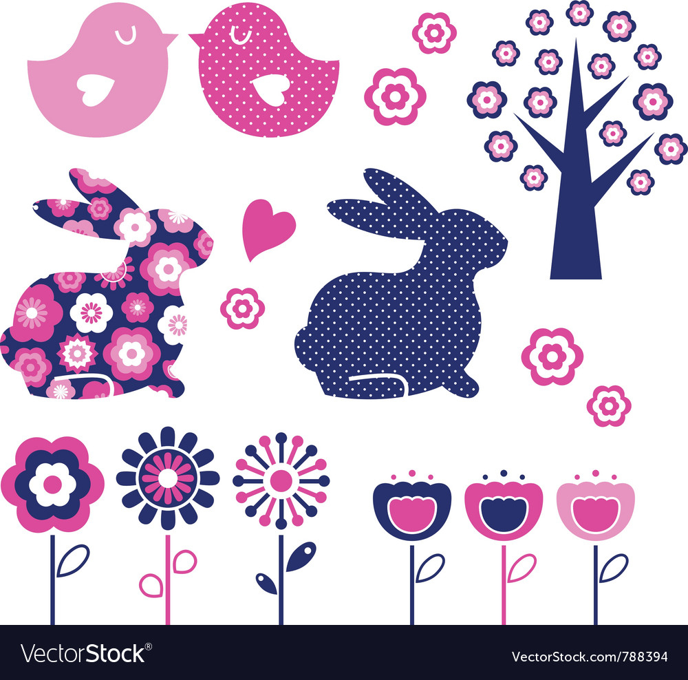 Spring and easter design elements vector | Price: 1 Credit (USD $1)