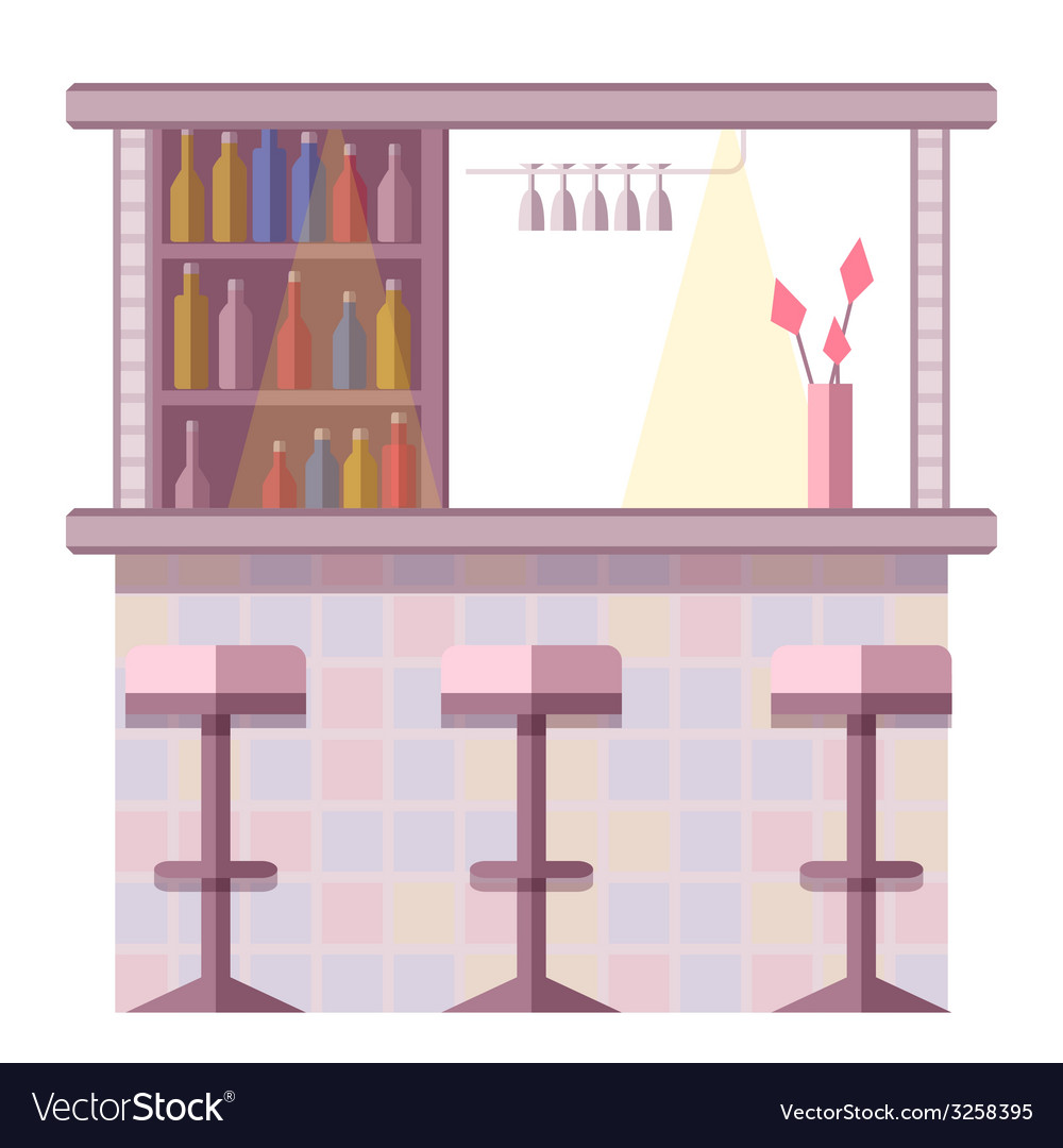 Bar with lots of bottles and drinking glasses vector | Price: 1 Credit (USD $1)