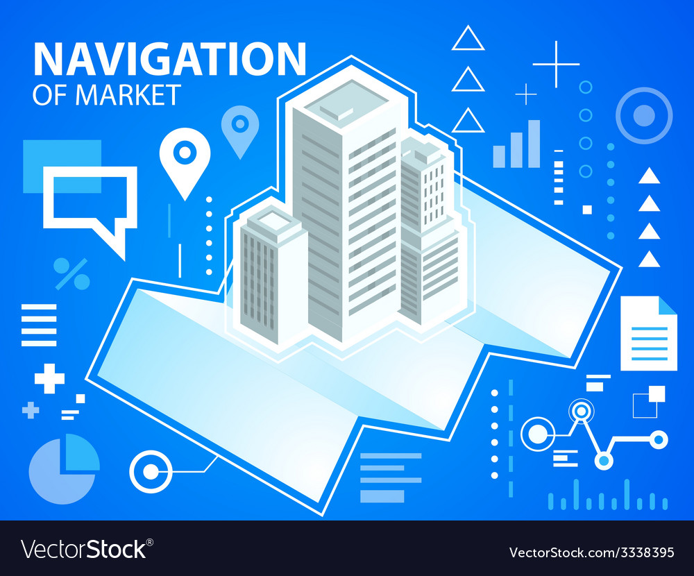 Bright navigation map and buildings on blue vector | Price: 3 Credit (USD $3)