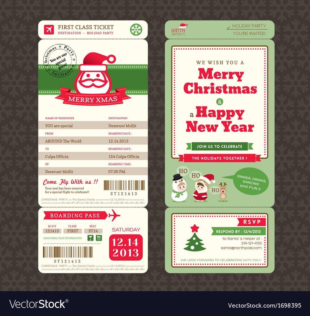 Christmas card design boarding pass ticket vector