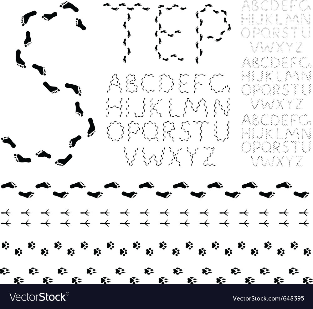 Footprint alphabet vector | Price: 1 Credit (USD $1)