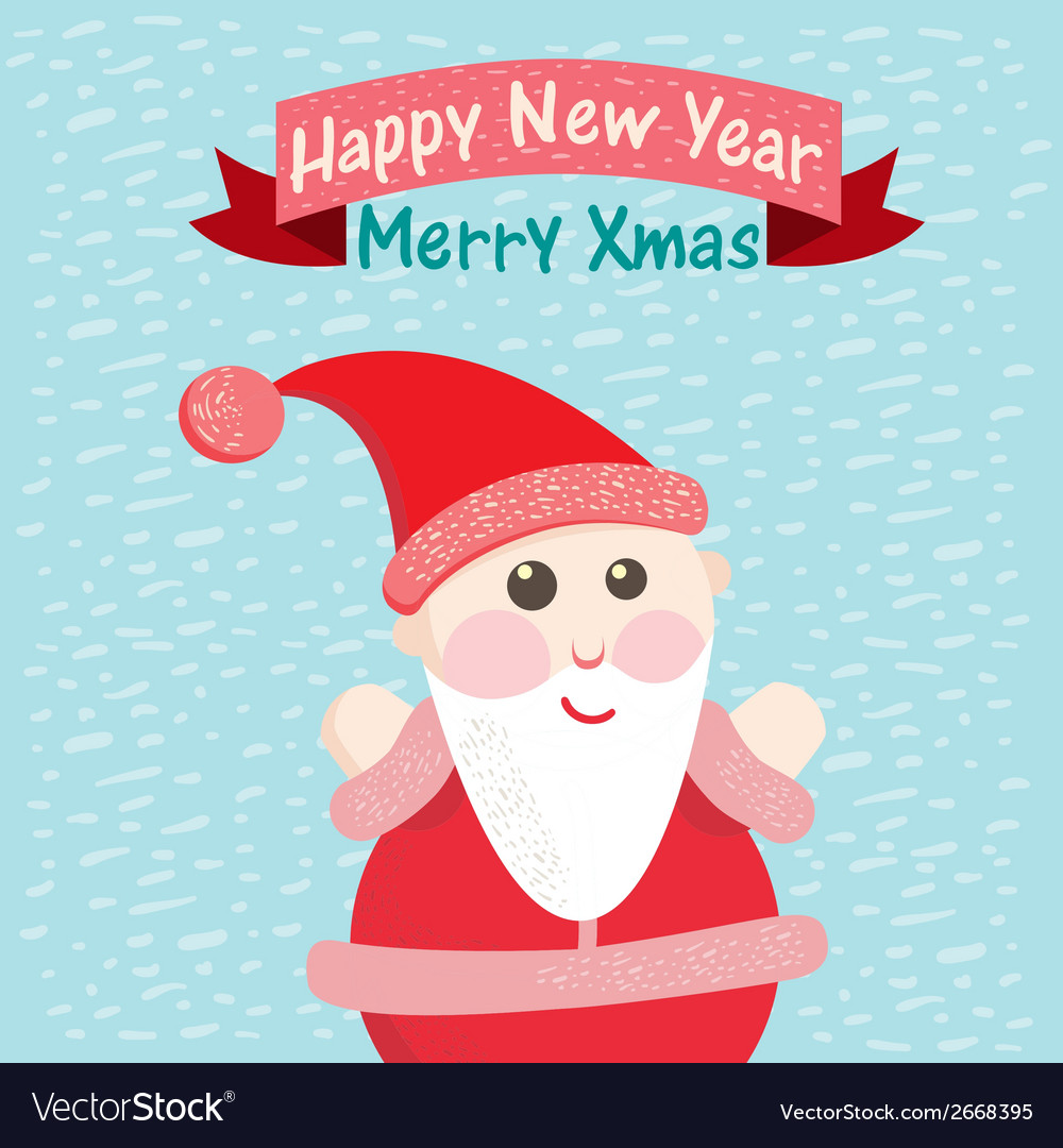 Funny christmas postcard with santa claus vector | Price: 1 Credit (USD $1)