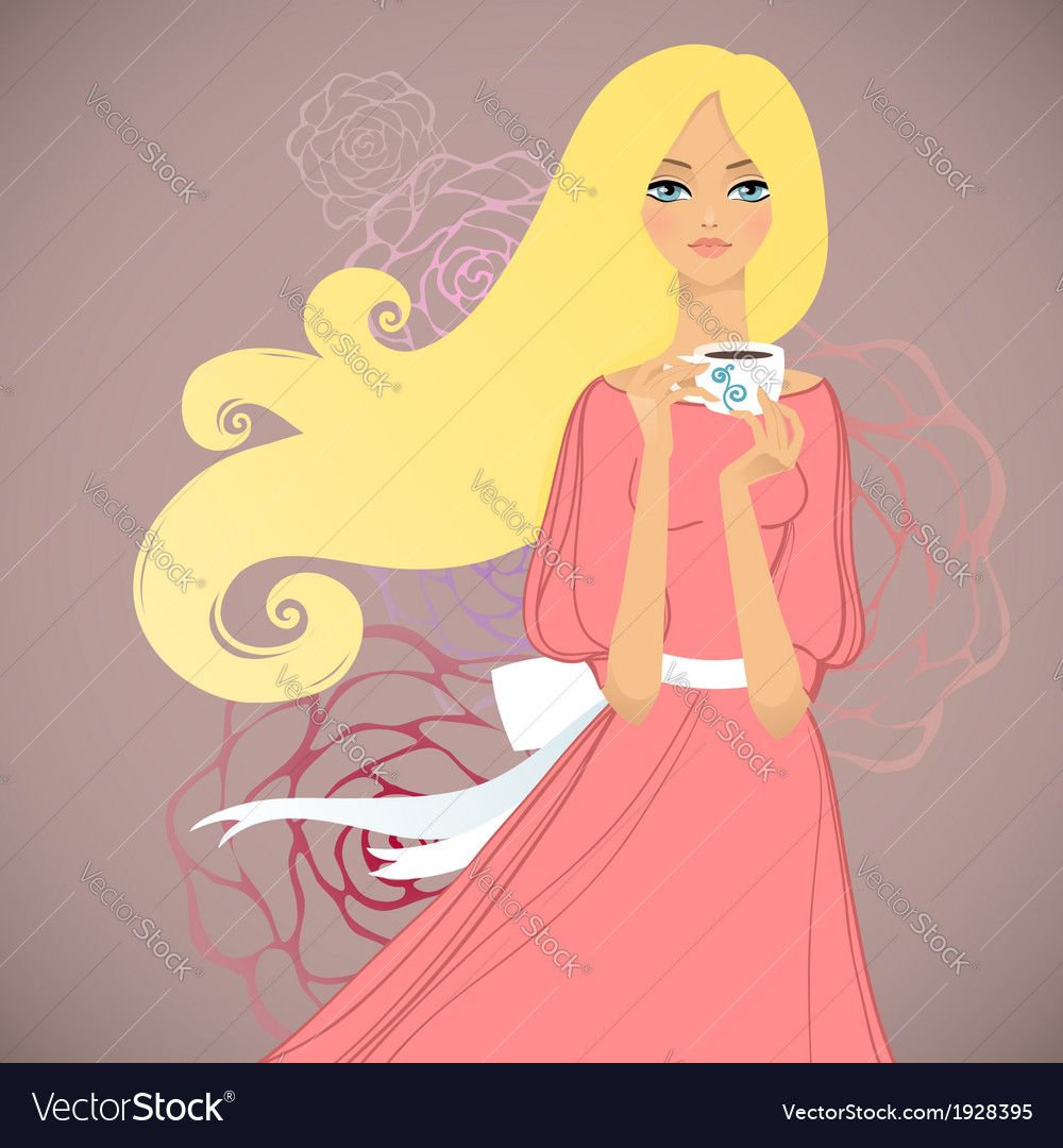Girl with cup of tea vector | Price: 1 Credit (USD $1)