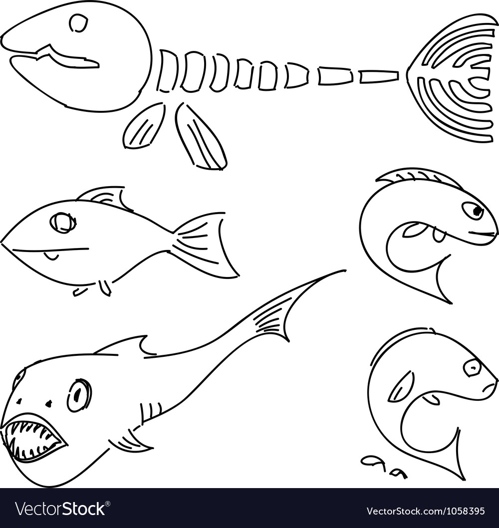 Humorous drawing fish set vector | Price: 1 Credit (USD $1)