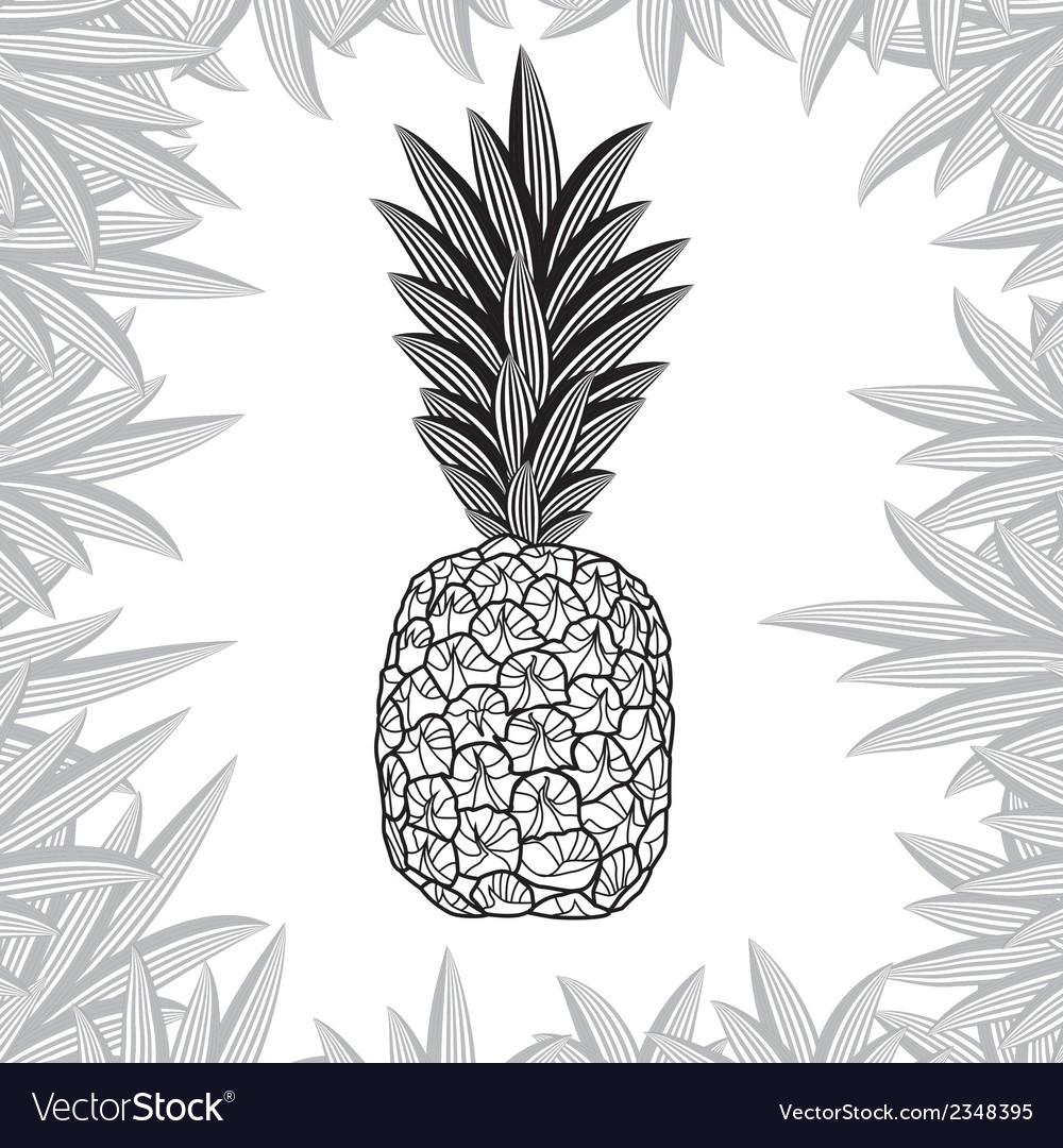 Pineapple fruit black and white design vector | Price: 1 Credit (USD $1)