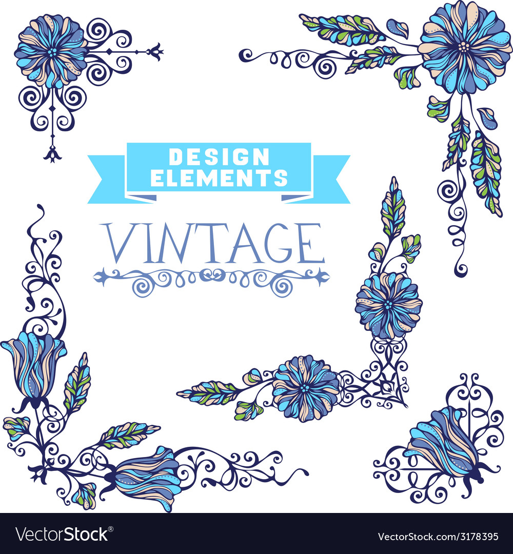 Set of vintage corner designs with floral elements vector | Price: 1 Credit (USD $1)