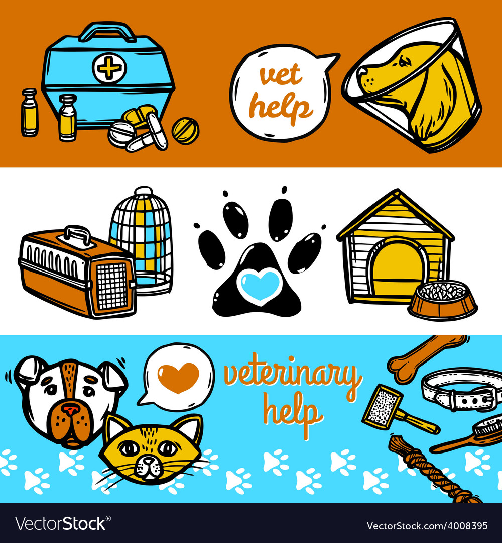 Veterinary banners set vector | Price: 1 Credit (USD $1)
