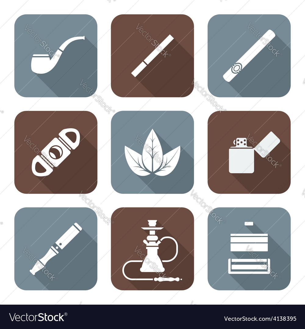 White color flat style various tobacco goods tools vector | Price: 1 Credit (USD $1)