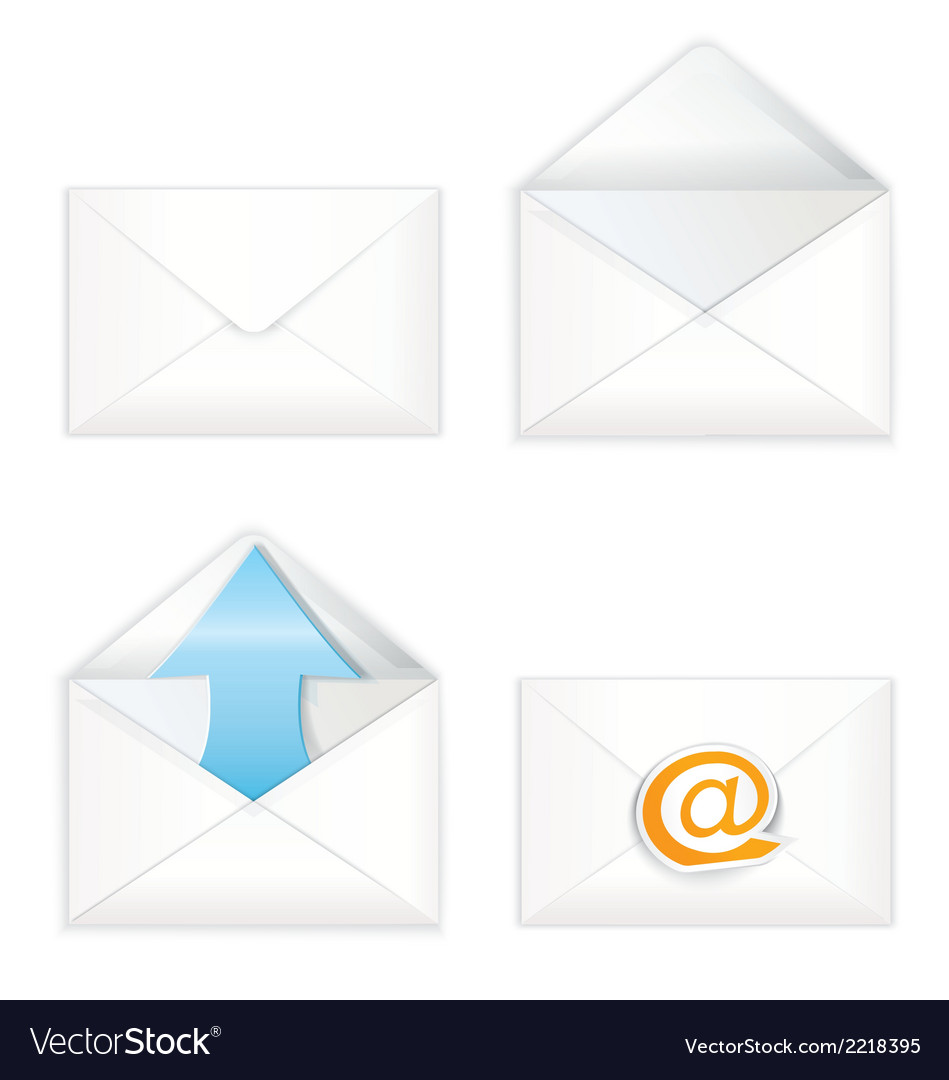 White open closed envelope icon set vector | Price: 1 Credit (USD $1)