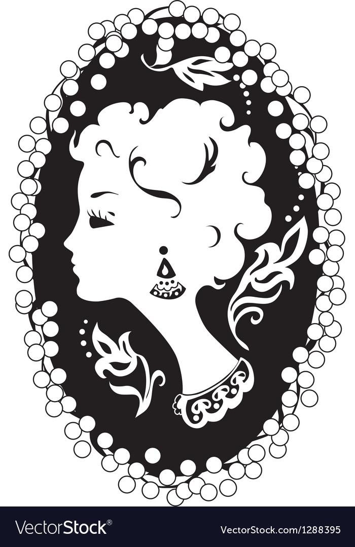 Woman camea vintage profile vector | Price: 1 Credit (USD $1)