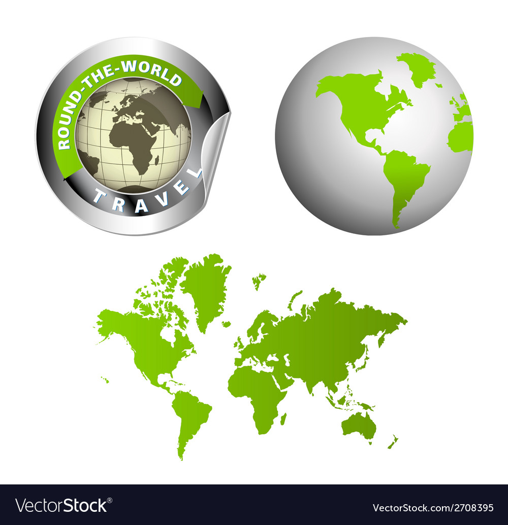 World map globe around the wor vector | Price: 1 Credit (USD $1)