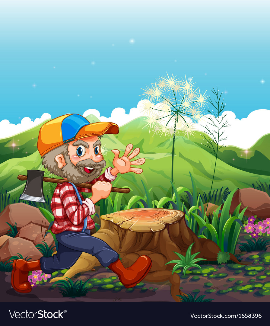 A lumberjack wearing a cap walking near the stump vector | Price: 3 Credit (USD $3)