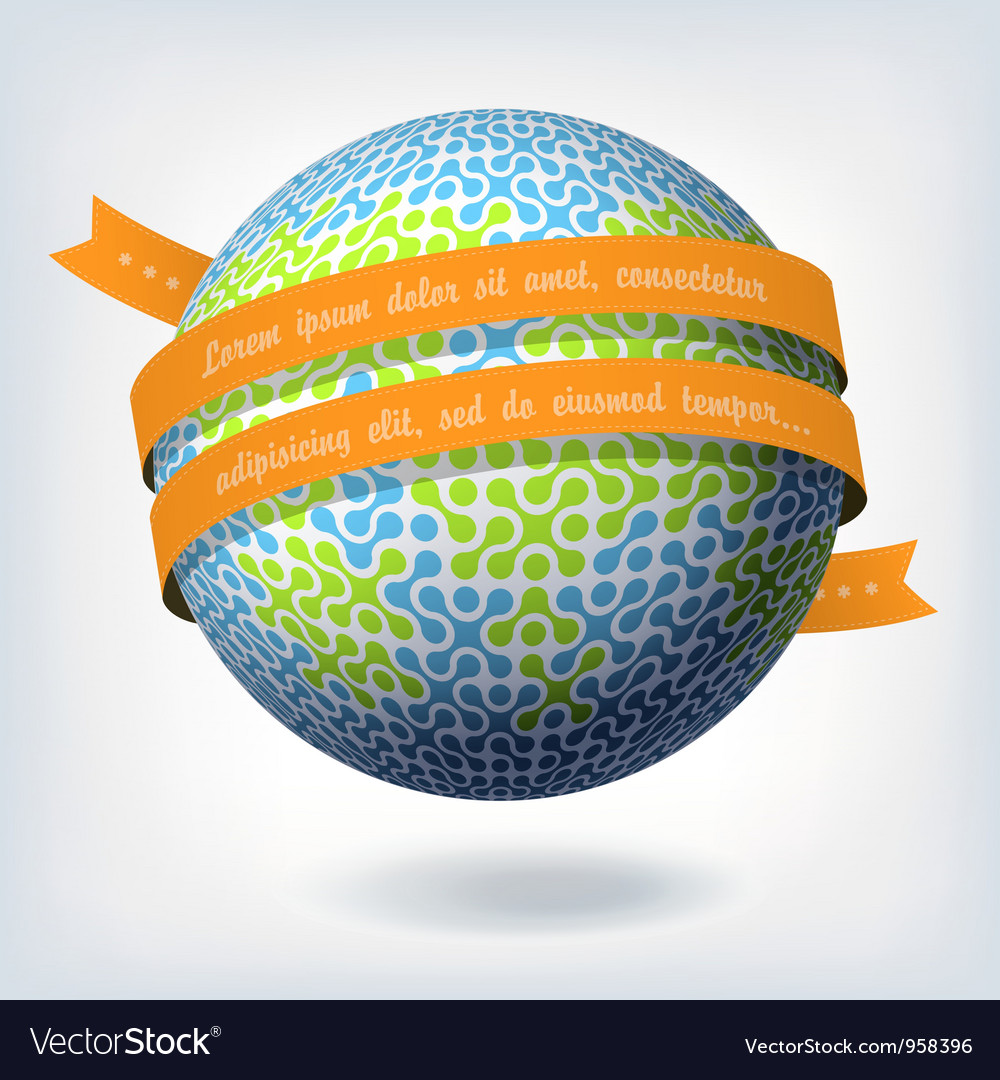 Abstract globe symbol with ribbon vector | Price: 1 Credit (USD $1)