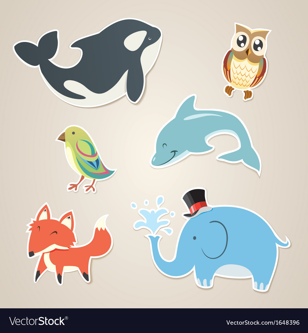 Animal sticker vector | Price: 1 Credit (USD $1)