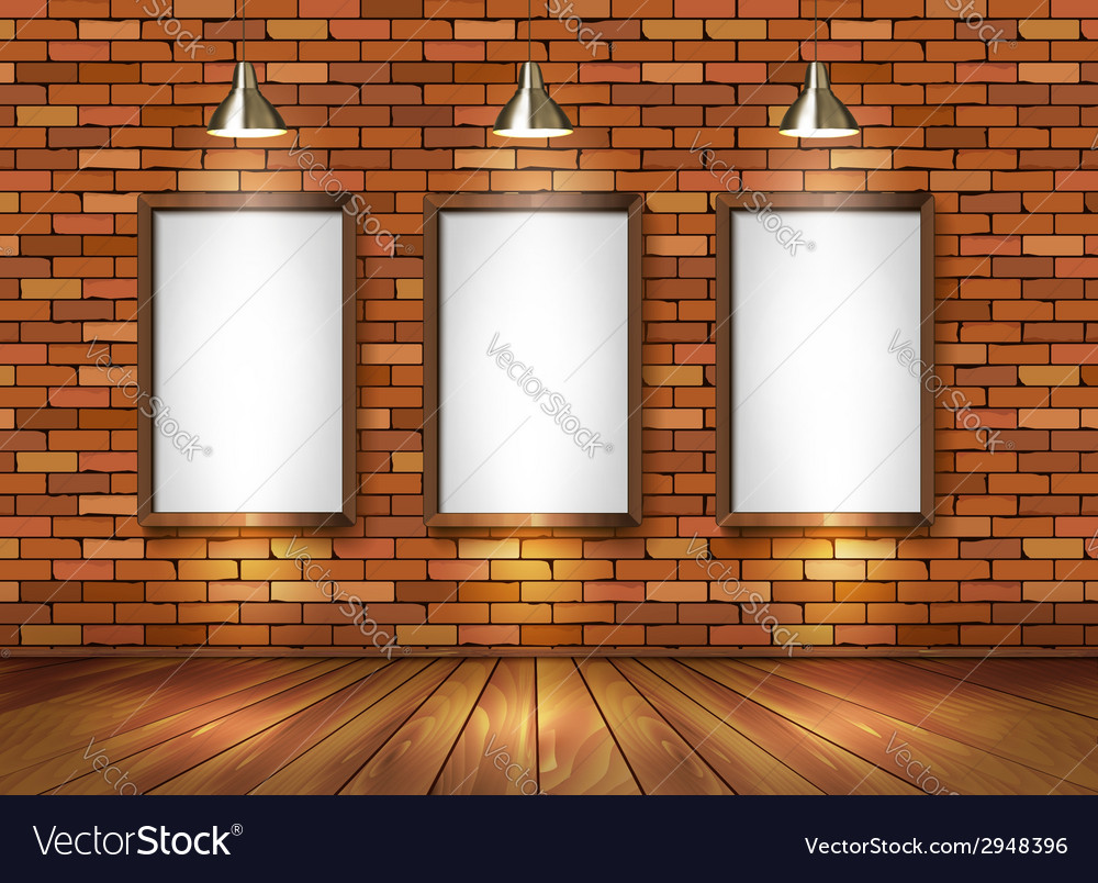 Brick show room with spotlights vector | Price: 1 Credit (USD $1)