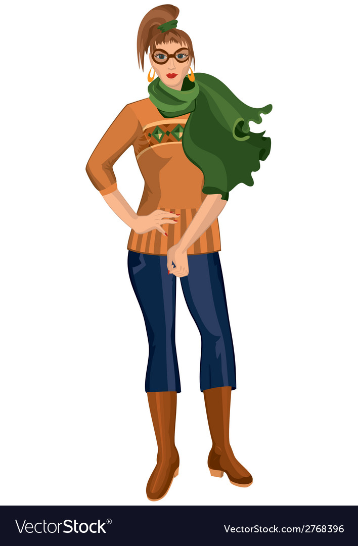 Cartoon young woman in green scarf and brown boots vector | Price: 1 Credit (USD $1)
