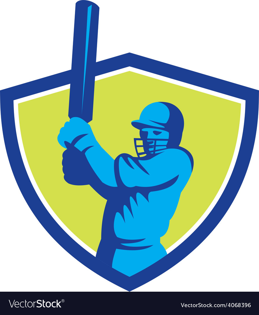 Cricket player batsman batting shield retro vector | Price: 1 Credit (USD $1)