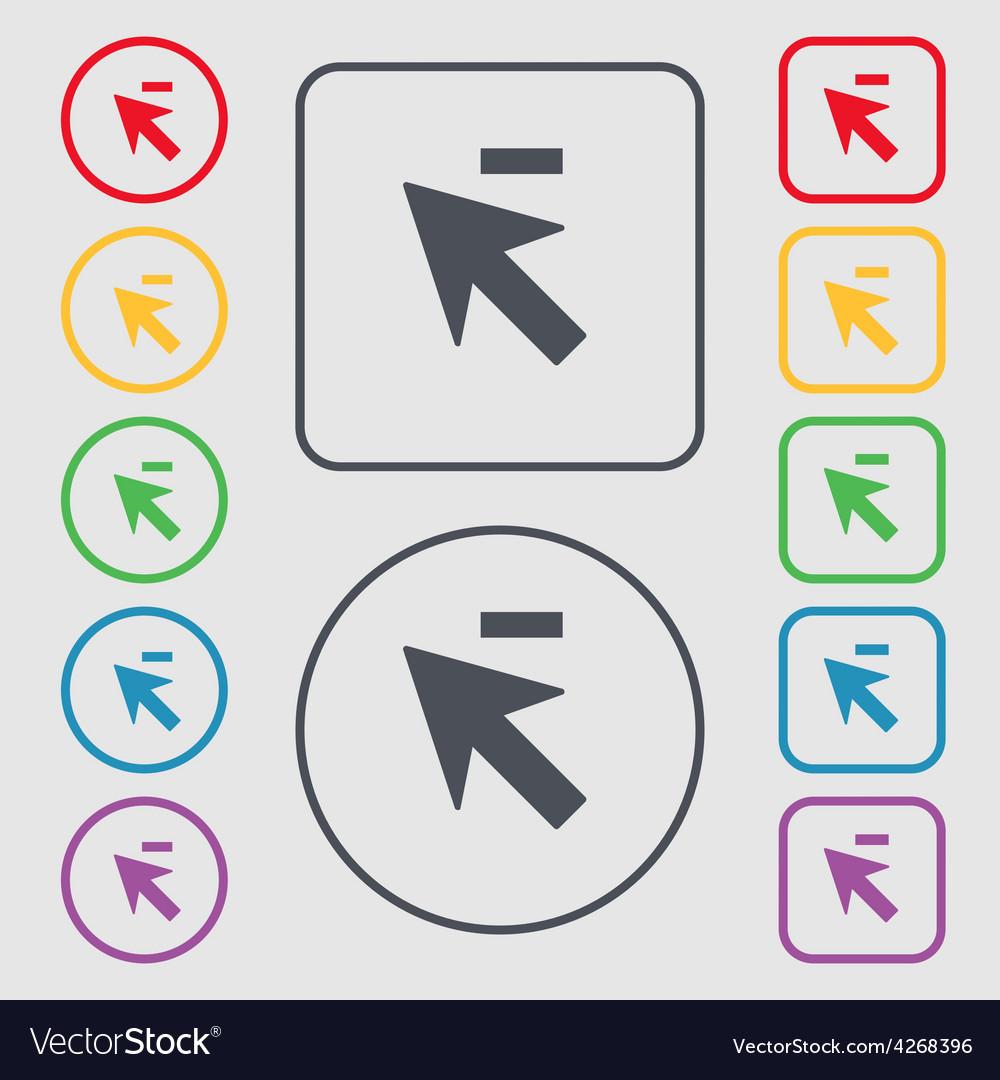Cursor arrow minus icon sign symbol on the round vector | Price: 1 Credit (USD $1)