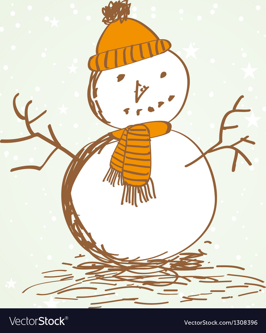 Cute vintage christmas card with snowman vector | Price: 1 Credit (USD $1)