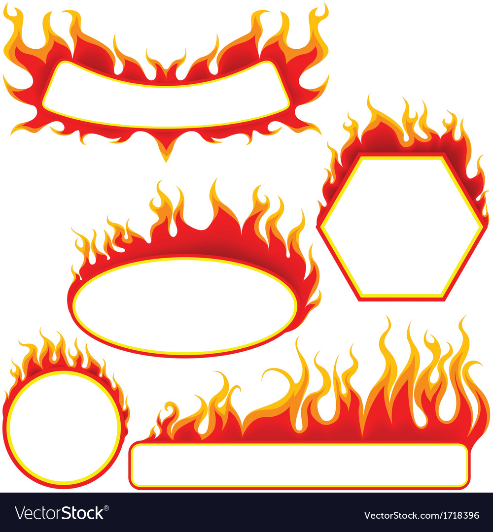 Fire banners set vector