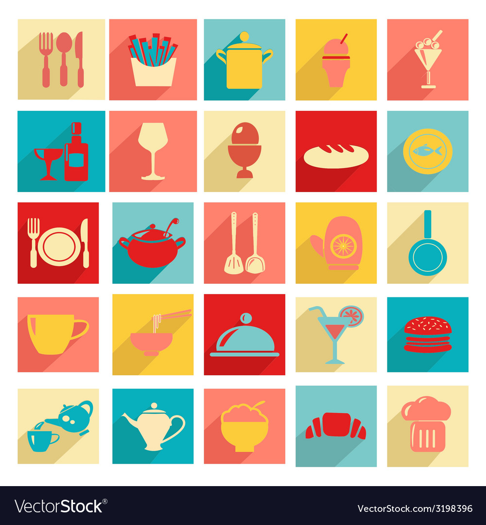 Flat design restaurant and dining icons silhouett vector | Price: 1 Credit (USD $1)