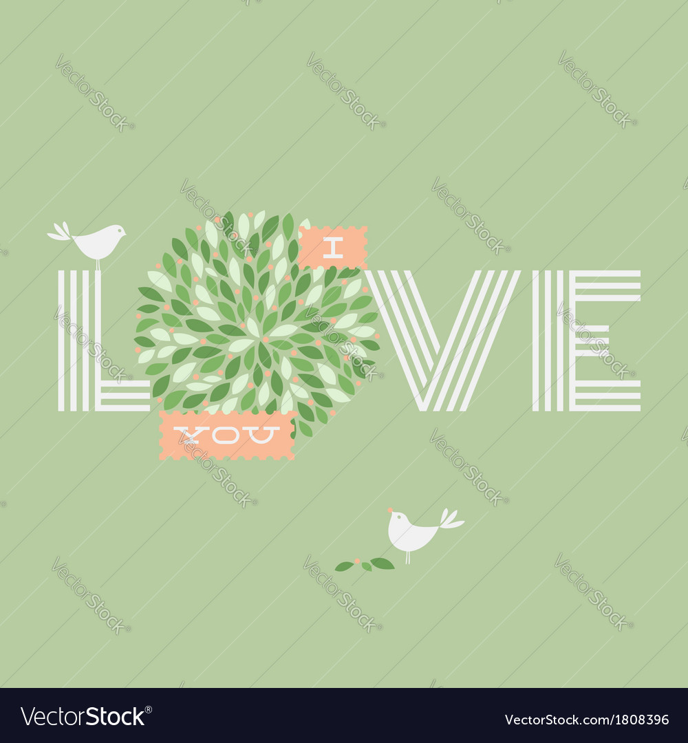 Greeting card with two love pretty birds vector | Price: 1 Credit (USD $1)