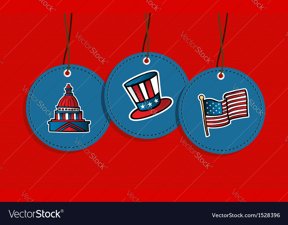 Hanging patriotic us badges vector | Price: 1 Credit (USD $1)