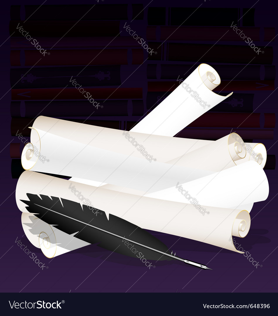 Paper scrolls and old pen vector | Price: 1 Credit (USD $1)