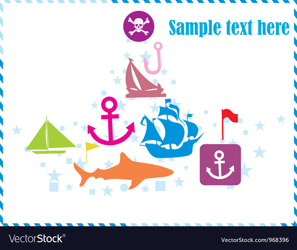 Postcard with pirates set vector | Price: 1 Credit (USD $1)