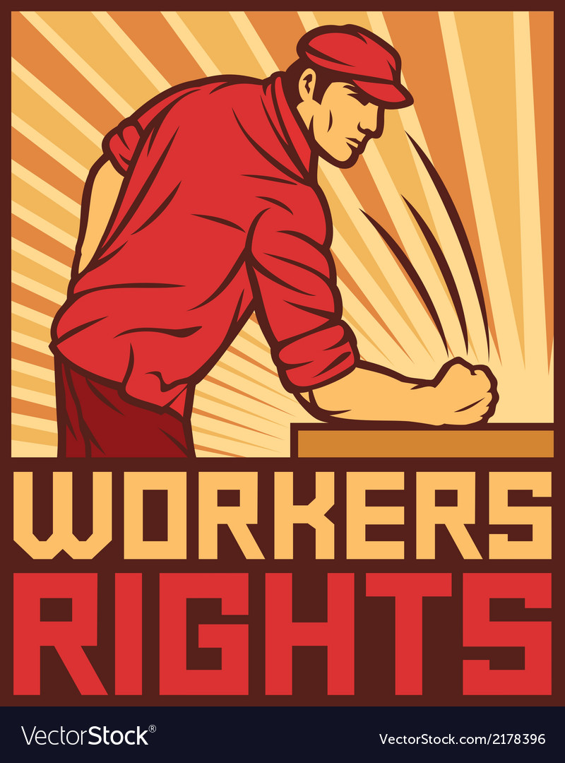 Workers rights poster - fist hit of the table vector | Price: 1 Credit (USD $1)