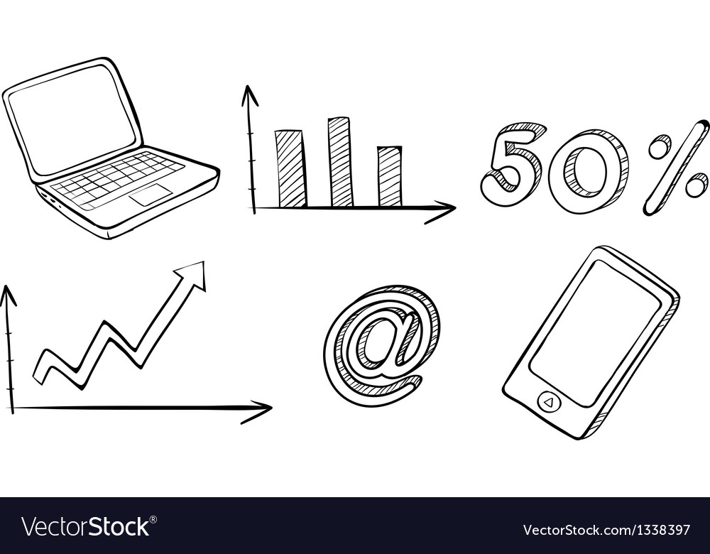 A laptop graph phone and other symbols vector | Price: 1 Credit (USD $1)