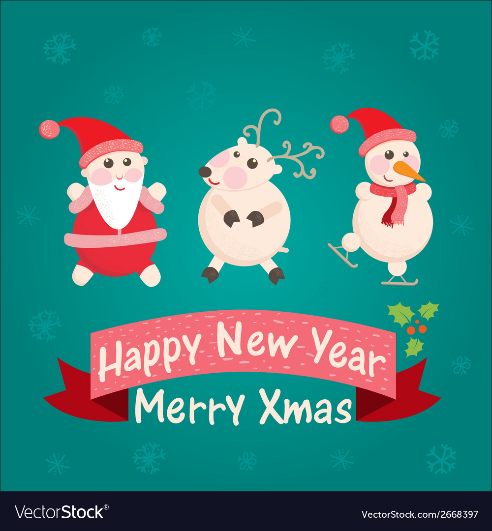 Greeting card with santa claus snowman vector | Price: 1 Credit (USD $1)