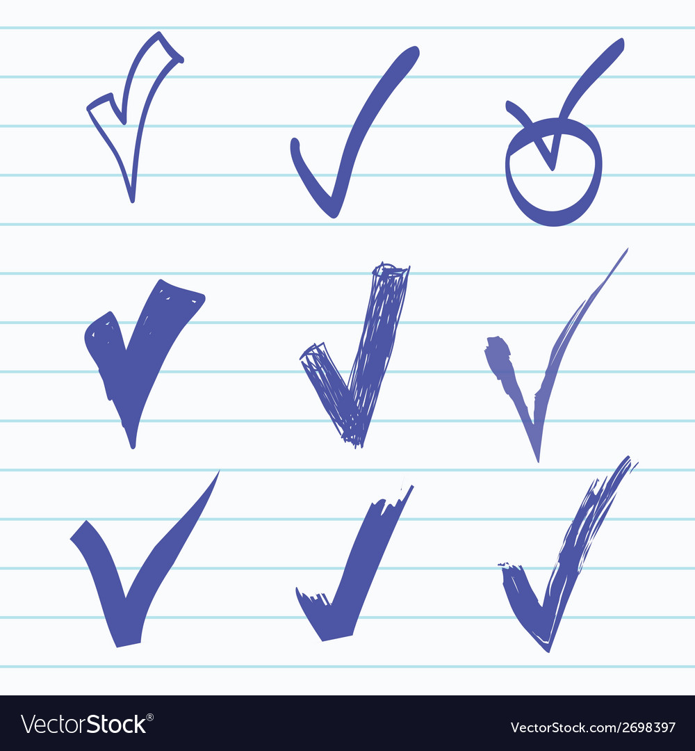 Set of hand-drawn check vector | Price: 1 Credit (USD $1)