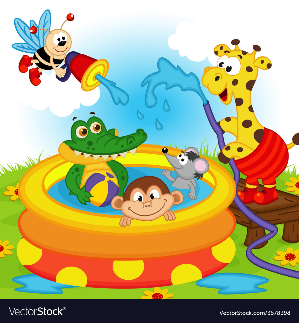 Animals in inflatable pool vector | Price: 1 Credit (USD $1)