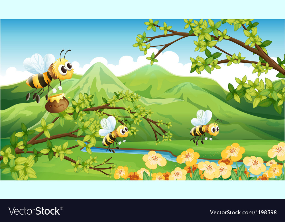 Bees near the mountain vector | Price: 1 Credit (USD $1)