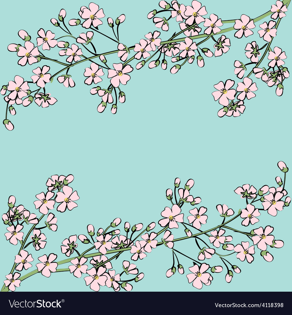 Card with spring flowers vector | Price: 1 Credit (USD $1)