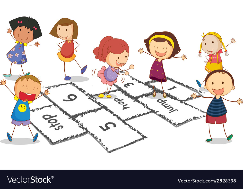 Children and hopscotch vector | Price: 1 Credit (USD $1)