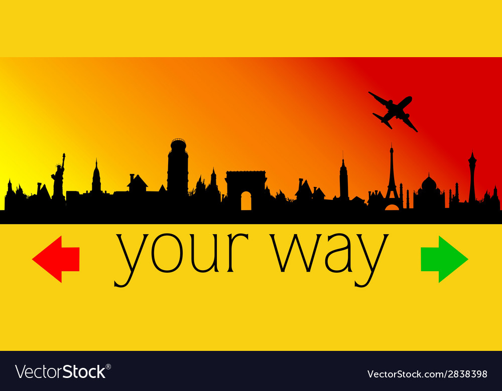 Choose your way with city and plane vector | Price: 1 Credit (USD $1)