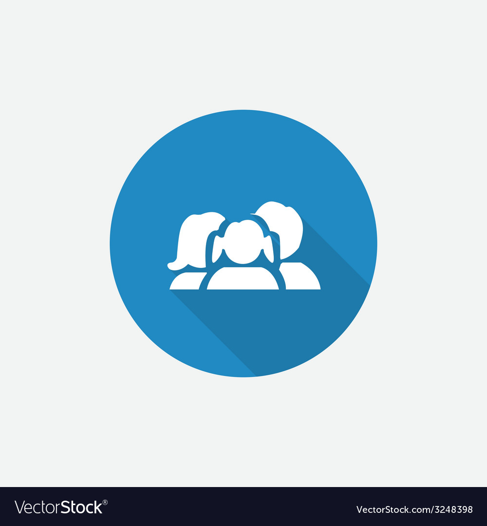 Family flat blue simple icon with long shadow vector | Price: 1 Credit (USD $1)